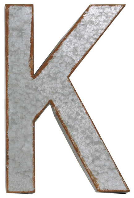 Metal alphabet wall decor letter k industrial wall for Letter k decoration