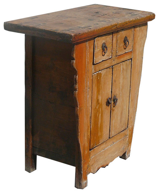 Chinese Antique Rustic Solid Elm Wood Side Cabinet - Eclectic - Side ...