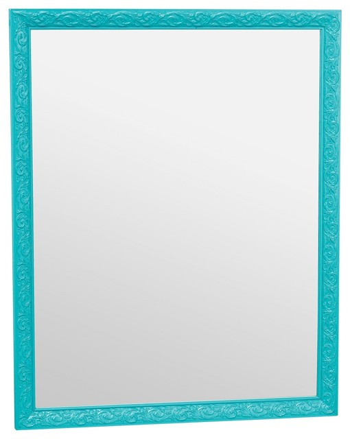 Ornate mirror teal eclectic wall mirrors by domayne for Teal framed mirror