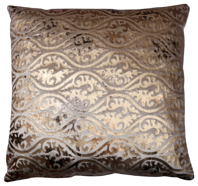 Gold Brown Throw Pillows : Luxe Indoor Pillow, Brown and Gold - Decorative Pillows - by Divine Designs USA