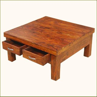 Solid Wood Rustic 4 Drawers Square Storage Coffee Table