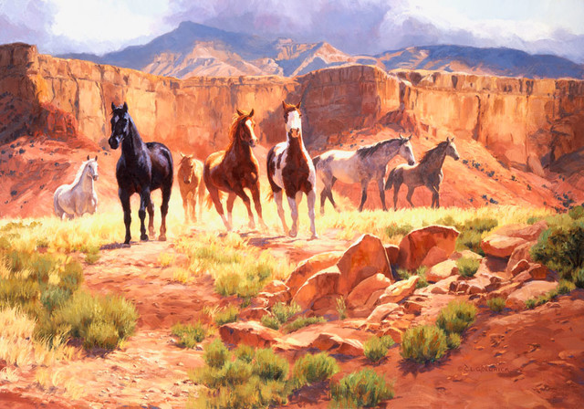 Canyon horses wall mural rustic wallpaper for Equestrian wall mural