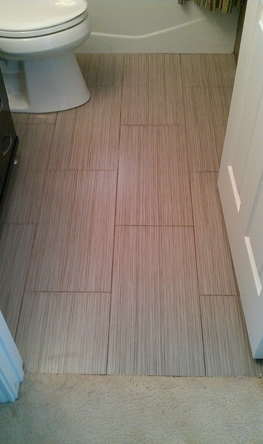Bathroom Large Panel Wall And Floor Tile Contemporary
