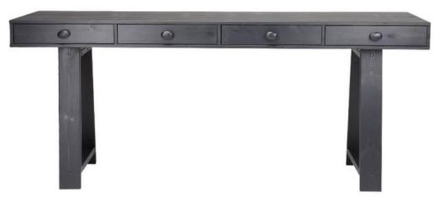 Bureau Console 4 Tiroirs En Pin Teuna Couleur Noir