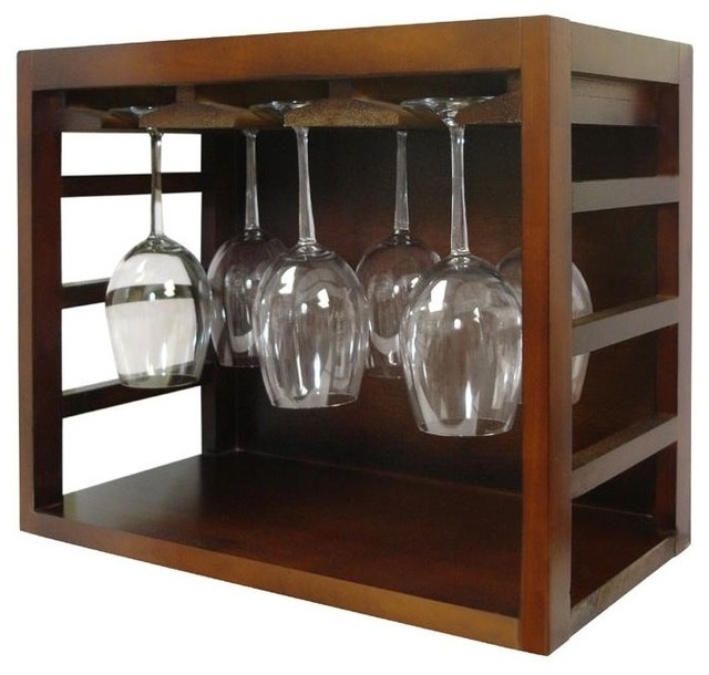 Vinotemp Stackable Wood Wine Glass Rack Brown Ep