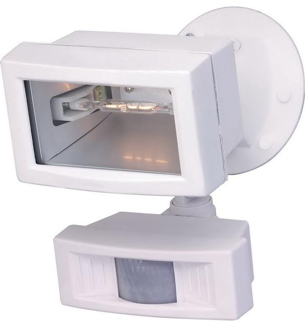White Exterior Motion Detector 5 Halogen Flood Light Transitional O