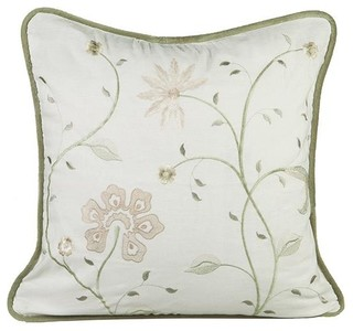 Mary Grace Embroidered Pillow - Traditional - Decorative Pillows