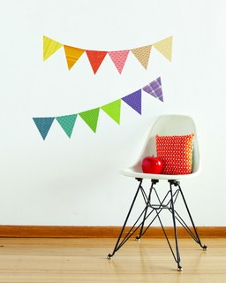 Petit collage pennants fabric wall decal modern kids for Modern kids fabric