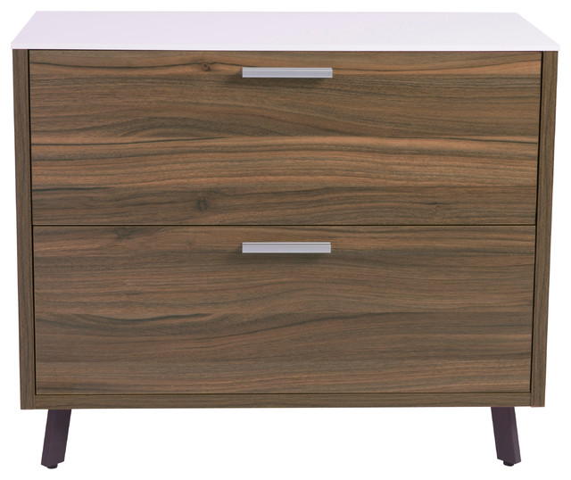 Hart Lateral File Cabinet, White Walnut - Contemporary - Filing Cabinets - by Euro Style