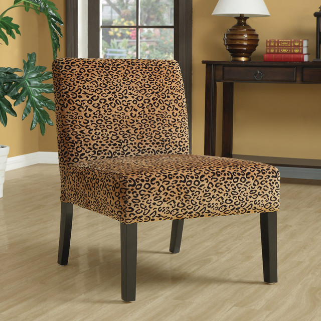 Missoni Style Print Accent Chair: Leopard Print Espresso Finish Accent Chair