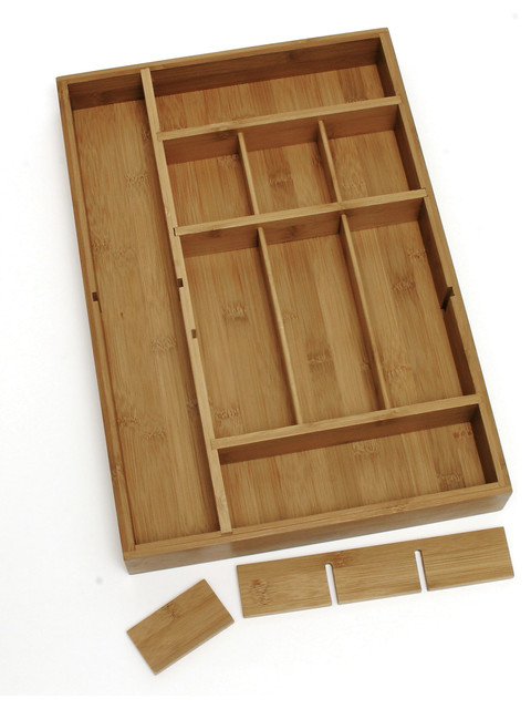 bamboo organizer with 3 removable dividers contemporary