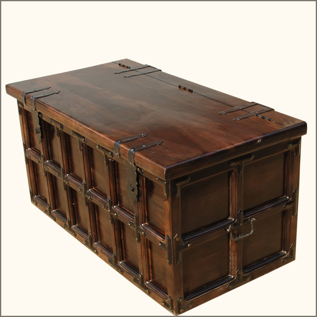 Solid Wood & Iron Rustic Coffee Table Storage Trunk