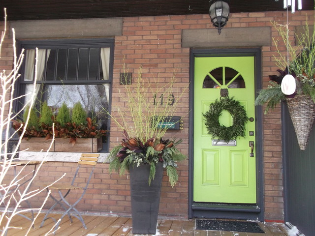 Eclectic Porch Toronto Winter Containers eclectic-porch