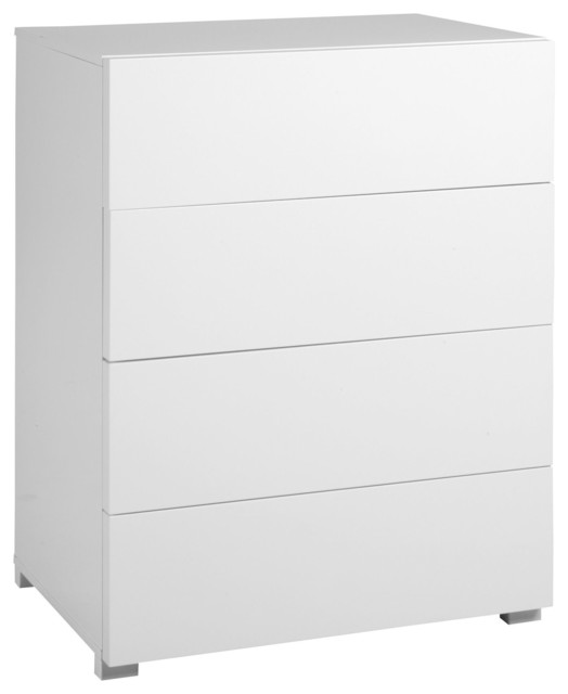 Gloss commode 4 tiroirs finition laqu e blanc brillant contemporary che - Commode laquee blanc 6 tiroirs ...