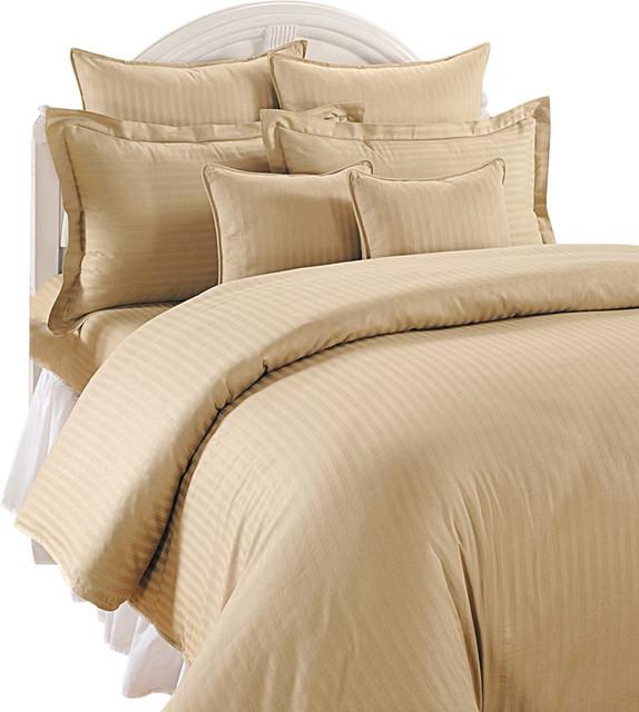 1000tc Stripe Beige Color King Size 3pc Duvet Set 100