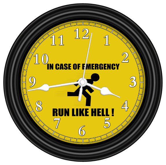 In Case Of Emergency Unique Wall Clock White Hands