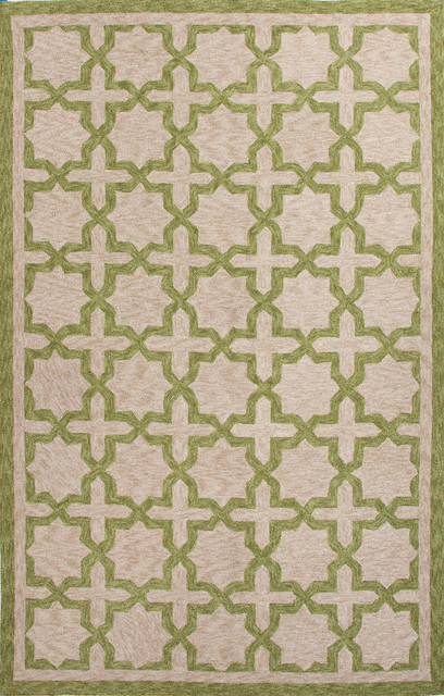 Moroccan Pattern Polyester Green Taupe Indoor Outdoor Area