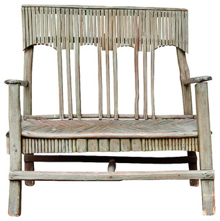 Folk Art Rustic Antique Twig Bench Modern Garden Benches Miami By The
