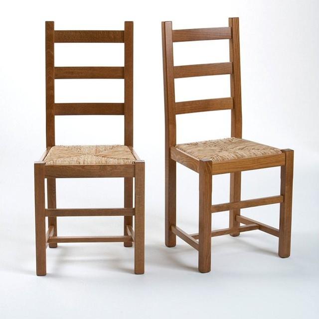 Chaise h tre massif lot de 2 tradition contemporain for La redoute chaises de salle a manger