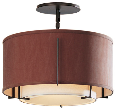 Hubbardton forge 126501 1 light exos small double shade for Semi flush mount lighting modern