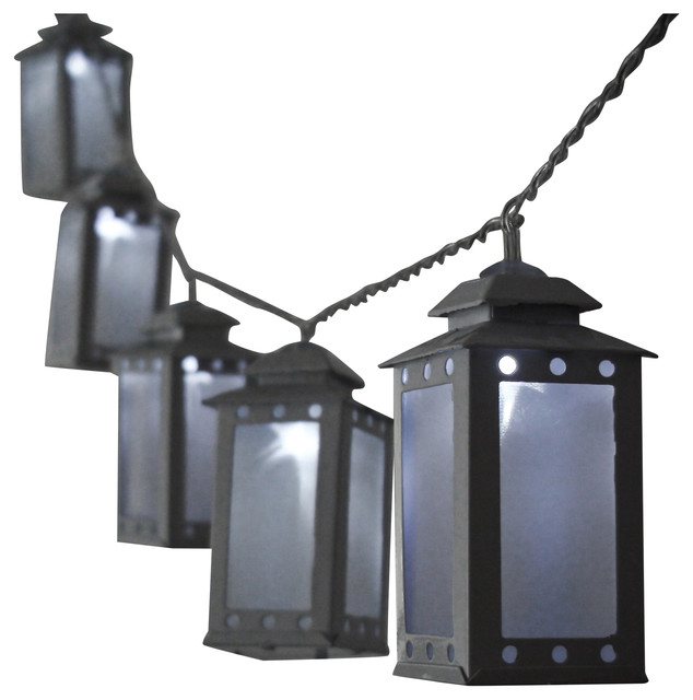 Mini Lantern String Light, White & Warm White - Outdoor Rope And String Lights - by Fortune Products