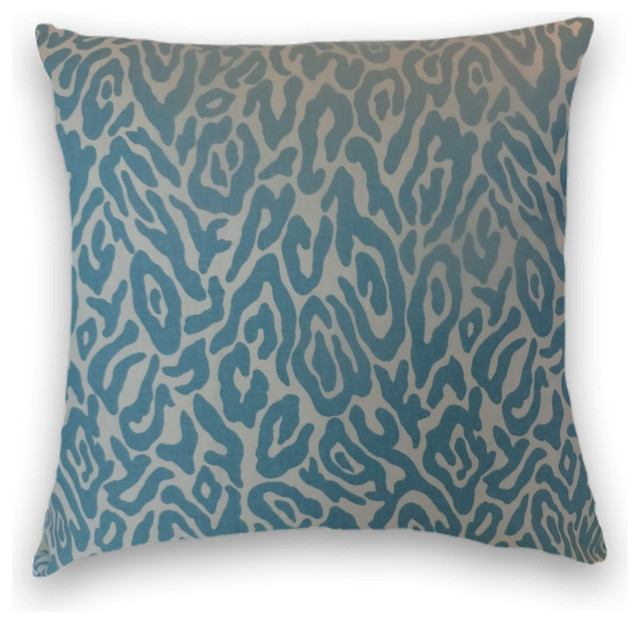 Turquoise Cotton Animal Print Throw, - Traditional - Decorative Pillows - by Cody & Cooper Designs