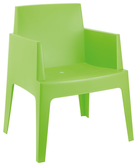Chaise design 39 plemo 39 verte en mati re plastique for Chaise de salle a manger en plastique