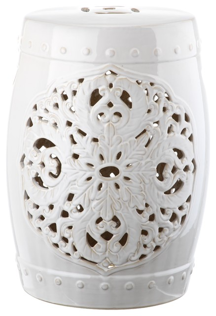 Safavieh Flora Garden Stool White Modern Accent And