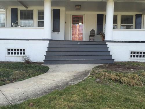 Painted Concrete Porch Red Brick House