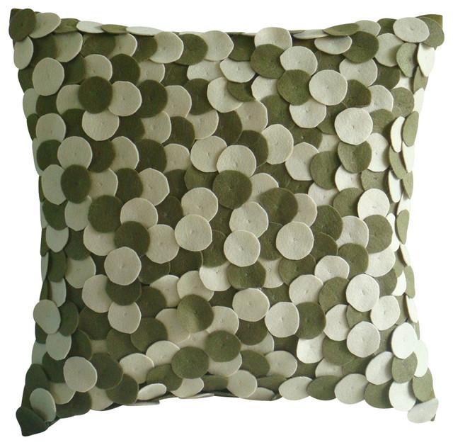 Modern Felt Pillows : Green Felt Felt Applique Pillow Covers, Olivey Spots - Modern - Decorative Pillows - by The ...