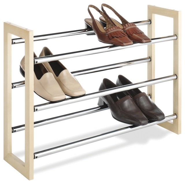 Stackable Wood and Chrome Shoe Rack - Contemporary - Shoe Storage - by MoreStorage Inc