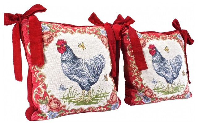 Eclectic Pillows : Velvet Rooster Pillow - Eclectic - Decorative Cushions - new york - by Omero