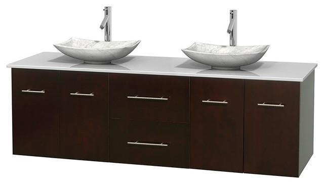 72 Double Bathroom Vanity White Man Made Stone Countertop Sinks Espresso Contemporary