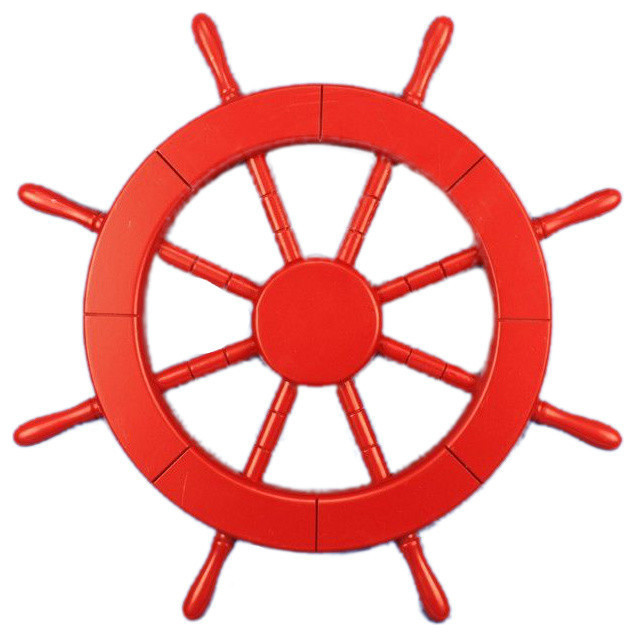 Decorative ship wheel red 18 quot beach style decorative objects and