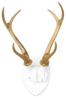 Deer Antler Mount, White Plaque/Gold Antlers