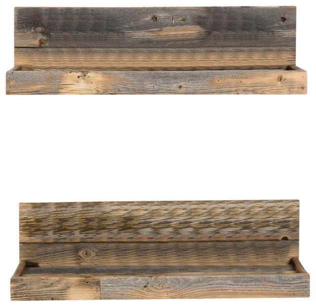 Shallow Reclaimed Wood Floating Shelf Set Rustic