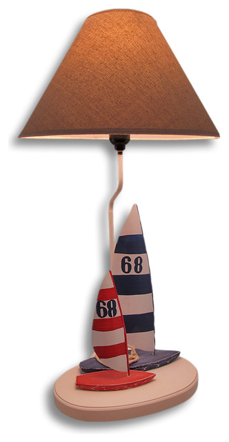 nautical double sailboat table lamp 25 in eclectic table. Black Bedroom Furniture Sets. Home Design Ideas
