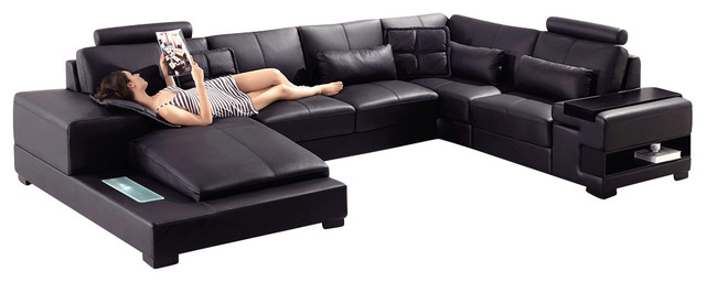 Diamond black bonded leather sectional sofa with built in for Sectional sofa with built in table