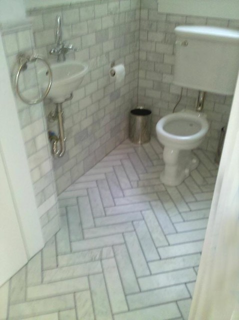Herringbone Marble Tiles Traditional Bathroom San