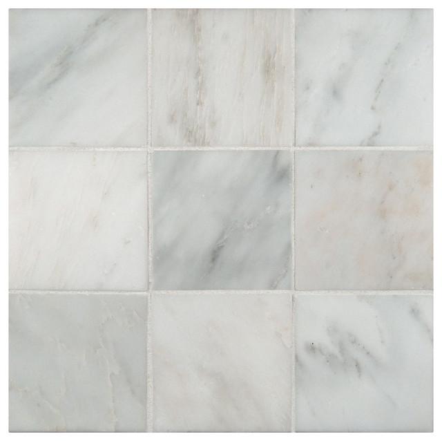 Arabescato Carrara 4u0026quot; x 4u0026quot; Honed Marble Floor and Wall ...