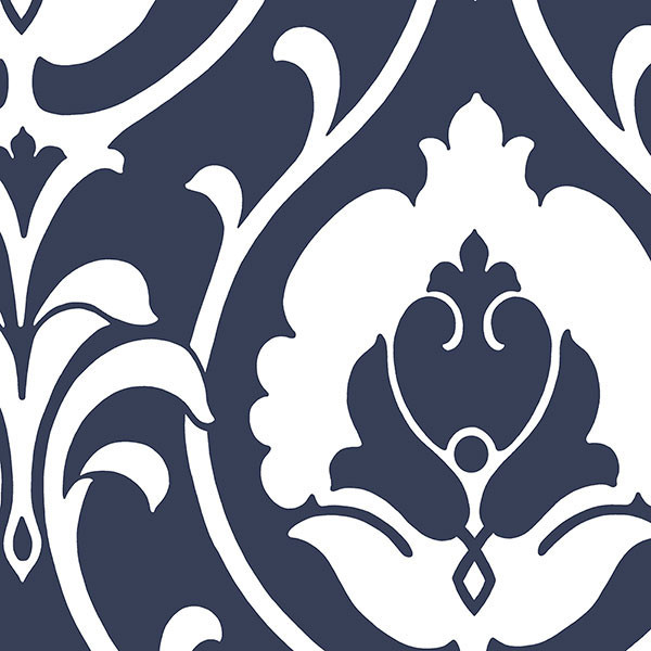 Modern damask wallpaper navy blue white 1 bolt for Black white damask wallpaper mural