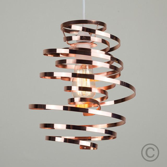 Modern Squiggle Twisted Spiral Pendant Light Shade in Copper