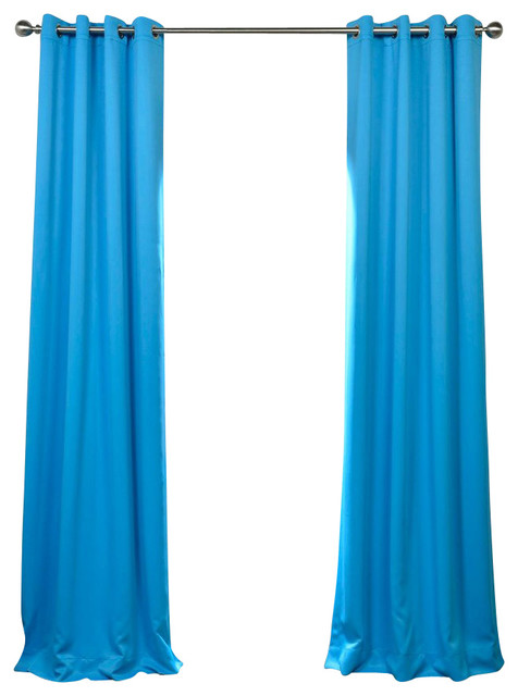 Blue blackout eyelet curtains