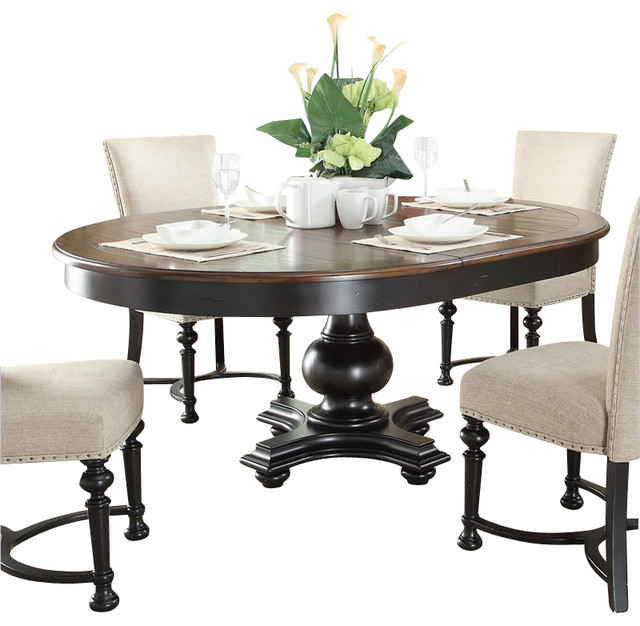 oval dining table in nutmeg kettle black traditional dining tables