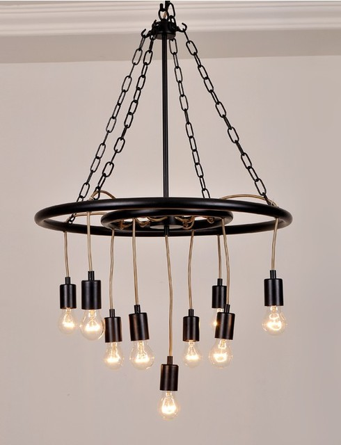 Post Modern Iron Edison Bulbs Chandelier Contemporary