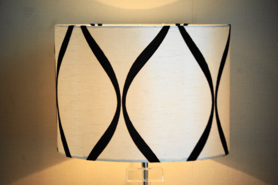 Black And White Shot Silk Lampshade By Cherry B Lampshades