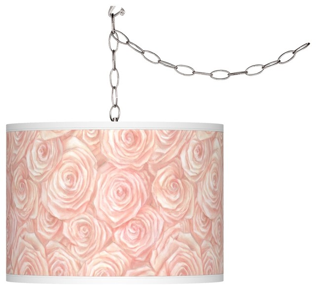 Swag Style Pink Roses Giclee Shade Plug In Chandelier Farmhouse Chandelie