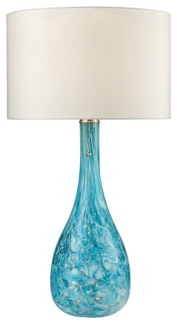 blown glass table lamp in seafoam transitional table lamps. Black Bedroom Furniture Sets. Home Design Ideas