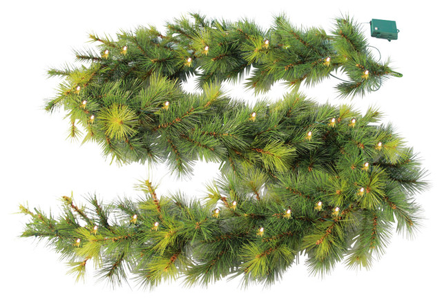 Artificial Pine Garland, White LED Lights and Timer - Traditional ...