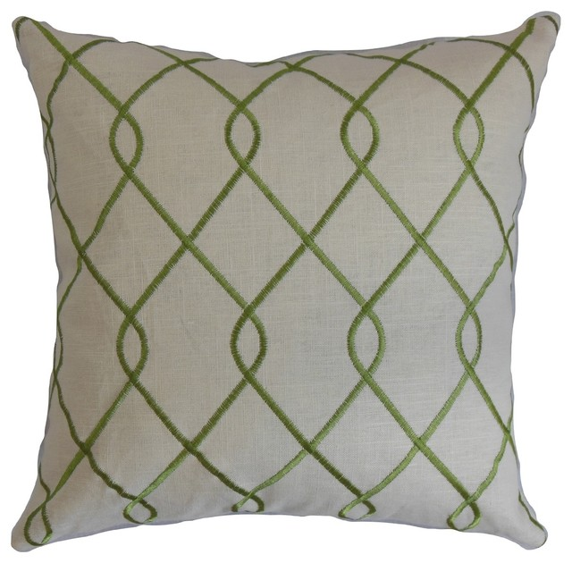 Green Geometric Throw Pillow : Jolo Geometric Down Fill Throw Pillow Green - Contemporary - Decorative Pillows - by Overstock.com
